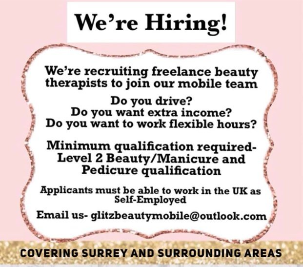 We're Hiring - Freelance Beauty therapists