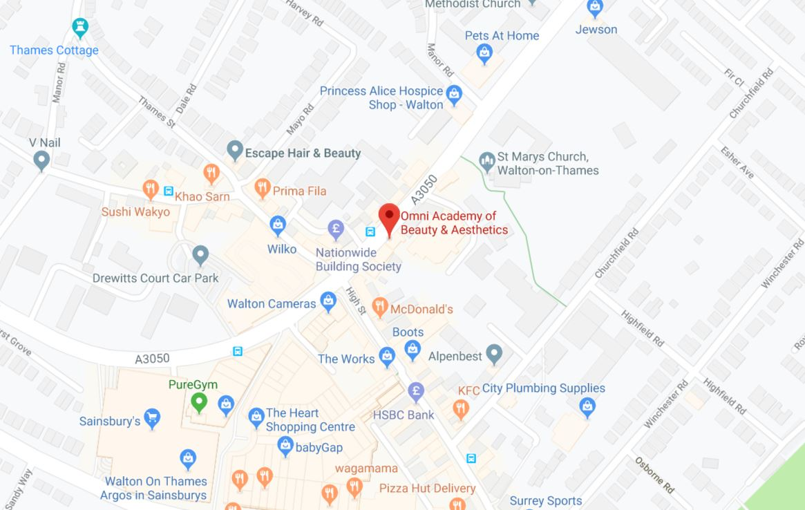 a map showing the location of omni academy of beauty