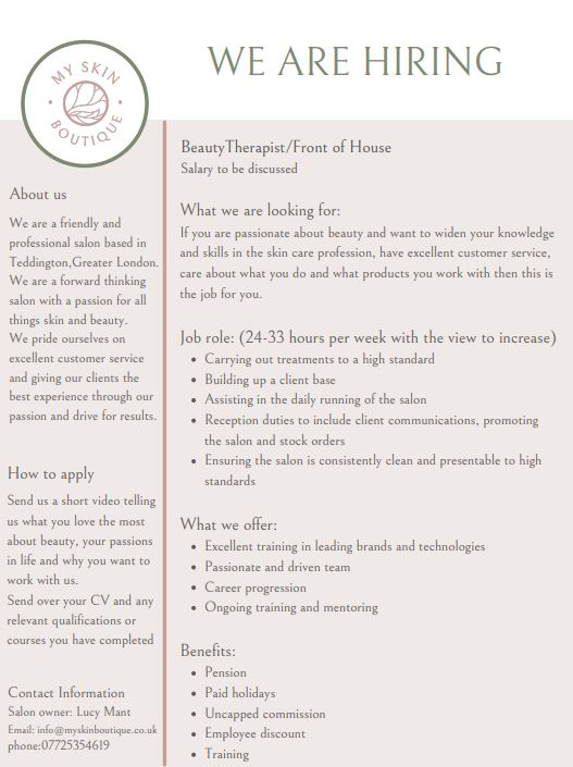 My Skin Boutique are Hiring!