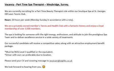 St Georges Spa Job Vacancy